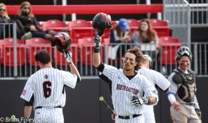 4/29/16 Brookline Massachusetts: Northeastern Pat Madigan during a non-conference game. The Huskies defeated the Blue Devils 2-1 at Parsons Field in Brookline, Massachusetts