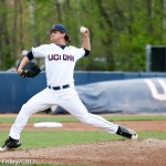 5/13/16 Storrs Connecticut: Anthony Kay (18) tosses a ball to first base during an American Athletic Conference matchup. The Huskies defeated the Knights 5-4 at J.O. Christian Field in Storrs, Connecticut