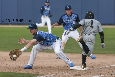 Ro Coleman beats out a bunt for a single - Photo By David Cohen, BHEphotos