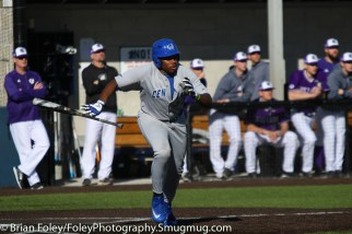Sunday, February 19, 2017; Northboro, MA; Central Connecticut St. outfielder Ken Wright (32) drops his bat during the Blue Devils 3-2 victory over the Crusaders in each team's season opener at the New England Baseball Complex.
