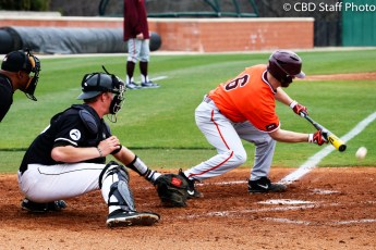 Virginia Tech sophomore Jack Owens lays down a sac bunt during Saturday's game against USC-Upstate.