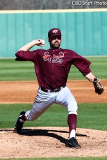 Redshirt Junior RHP Andrew McDonald throws a pitch during the Hokies 8-2 victory over USC-Upstate.