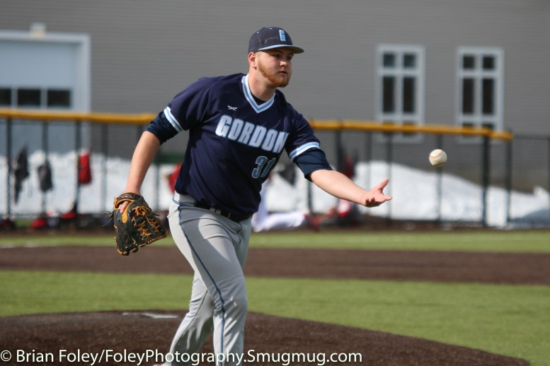 Monday, March 20, 2017; Northboro, MA; Gordon College Scots Derek Hudson (31) tosses a ball to first base during the Engineers come from behind 9-7 victory over the Scots at the New England Baseball Complex.