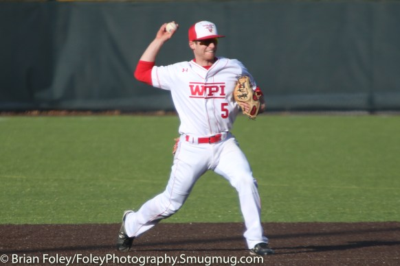 Monday, March 20, 2017; Northboro, MA; WPI Engineers shortstop Nick Comei (5) prepares to throw to first base during the Engineers come from behind 9-7 victory over the Scots at the New England Baseball Complex.