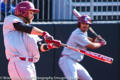 Friday, April 14, 2017; Brookline, MA; College of Charleston infielder Joey Mundy (40) follows through on a swing during the Huskies 6-3 victory over the Cougars in a CAA matchup at Parsons Field.