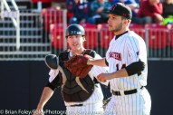 Friday, April 14, 2017; Brookline, MA; Northeastern Huskies pitcher Andrew Misiaszek (14) and Northeastern Huskies catcher John Mazza (15) get together after the seventh inning during the Huskies 6-3 victory over the Cougars in a CAA matchup at Parsons Field.