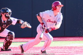Friday, April 14, 2017; Brookline, MA; College of Charleston infielder Tommy Richter (2) follows his hit during the Huskies 6-3 victory over the Cougars in a CAA matchup at Parsons Field.