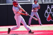 Friday, April 14, 2017; Brookline, MA; College of Charleston infielder Logan McRae (34) swings at a pitch during the Huskies 6-3 victory over the Cougars in a CAA matchup at Parsons Field.