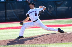 Friday, April 14, 2017; Brookline, MA; Northeastern Huskies pitcher Tyler Robinson (36) throws a pitch during the Huskies 6-3 victory over the Cougars in a CAA matchup at Parsons Field.