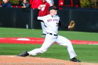 Friday, April 14, 2017; Brookline, MA; Northeastern Huskies pitcher Mike Fitzgerald (35) throws a pitch during the Huskies 6-3 victory over the Cougars in a CAA matchup at Parsons Field.