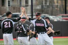 Sunday, April 16, 2017; Brookline, MA; Northeastern Huskies outfielder Jake Farrell (18) and Northeastern Huskies pitcher Tyler Brown (21) celebrate the victory during the Huskies 6-3 victory over the Cougars in a CAA matchup at Parsons Field.