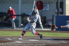 Tuesday, April 18, 2017; Northboro, MA; MIT Engineers Garrett Greenwood (3) swings for a pitch during the WPI Engineers 12-4 victory over the MIT Engineers in a NEWMAC conference matchup.