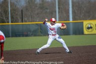Tuesday, April 18, 2017; Northboro, MA; WPI Engineers shortstop Nick Comei (5) makes a throw to first base during the WPI Engineers 12-4 victory over the MIT Engineers in a NEWMAC conference matchup.