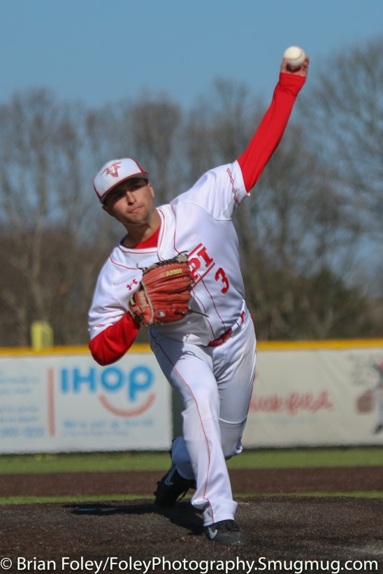 Tuesday, April 18, 2017; Northboro, MA; WPI Engineers pitcher Steven D'Agostino (3) throws a pitch during the WPI Engineers 12-4 victory over the MIT Engineers in a NEWMAC conference matchup.