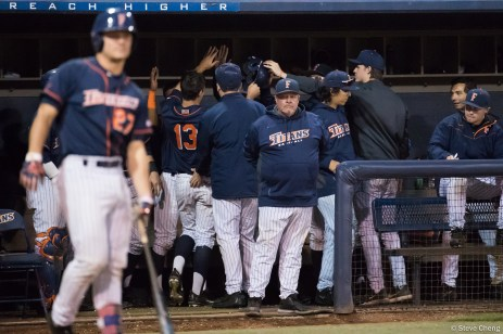 CSUF head coach Rick Vanderhook looks on as his team celebrates its 3rd run in the 5th inning. CSUF defeated UCLA 4-3, Fullerton, CA, May 9, 2017. Photo by Steve Cheng, BHEphotos.