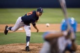 Reliever Jack Pabich pitches in the 8th inning. CSUF defeated UCLA 4-3, Fullerton, CA, May 9, 2017. Photo by Steve Cheng, BHEphotos.