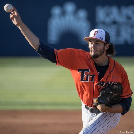 Starting pitcher Connor Seabold struck out 10 batters to earn his 8th win. CSUF defeated UCSB 8-4, Fullerton, CA, May 12, 2017.
