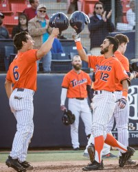 Sahid Valenzuela launches a 2-run home run to left field to tie the game 4-4 in the 3rd inning. CSUF defeated UCSB 8-4, Fullerton, CA, May 12, 2017.