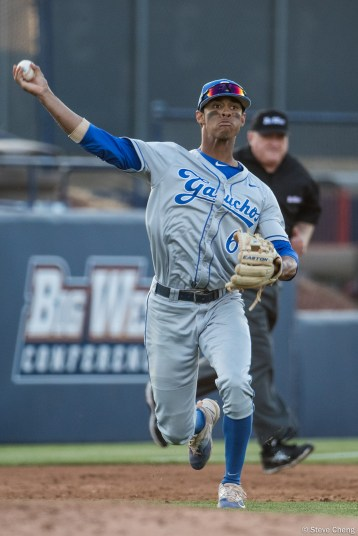 Tevin Mitchell. CSUF defeated UCSB 8-4, Fullerton, CA, May 12, 2017.