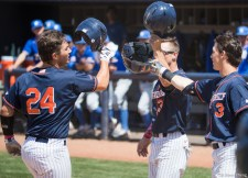 Chris Hudgins celebrates his 2-run home run in the 3rd inning. CSUF defeated UCSB 12-3, Fullerton, CA, May 14, 2017. Photo by Steve Cheng, BHEphotos.