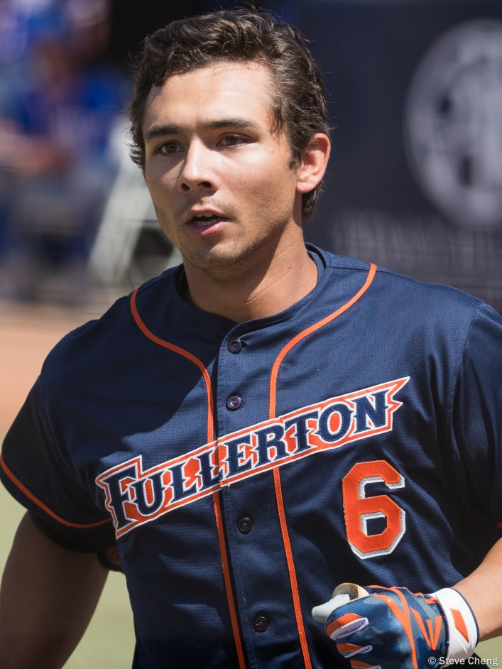 Scott Hurst hit 2 home runs in the game. CSUF defeated UCSB 12-3, Fullerton, CA, May 14, 2017. Photo by Steve Cheng, BHEphotos.