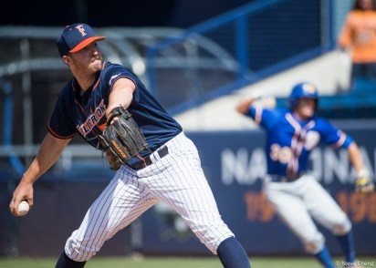 Blake Workman pitched 4.2 innings in relief to earn his 6th win. CSUF defeated UCSB 12-3, Fullerton, CA, May 14, 2017. Photo by Steve Cheng, BHEphotos.
