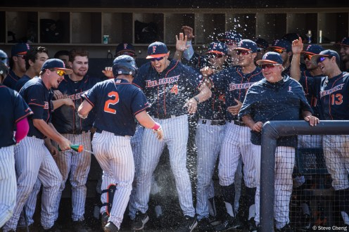 The Titans celebrate Tristan Hildebrandt's 2-run home run in the 6th inning. CSUF defeated UCSB 12-3, Fullerton, CA, May 14, 2017. Photo by Steve Cheng, BHEphotos.