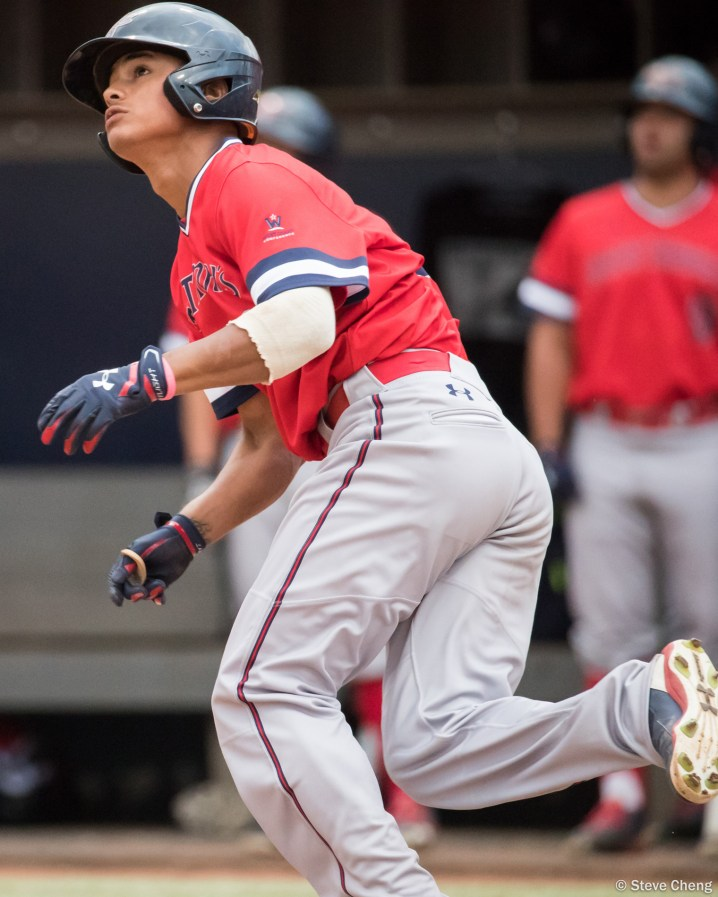 Brett Rasso homers in the 3rd inning to give the Gaels a 2-0 lead. Saint Mary's defeated CSUF 12-4, Fullerton, CA, May 15, 2017. Photo by Steve Cheng, BHEphotos.