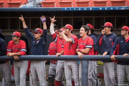 The Gaels dugout reacts to Zach Kirtley's back-to-back home run in the 3rd inning. Saint Mary's defeated CSUF 12-4, Fullerton, CA, May 15, 2017. Photo by Steve Cheng, BHEphotos.