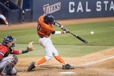 Daniel Cope hit his first career home run in the 6th inning. Saint Mary's defeated CSUF 12-4, Fullerton, CA, May 15, 2017. Photo by Steve Cheng, BHEphotos.