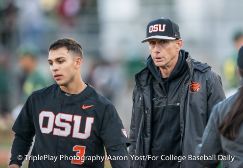 Oregon State coach Pat Casey won his 999th collegiate game on Thursday, guiding Nick Madrigal (3) and the rest of the Beavers to a 6-1 victory over Oregon at PK Park.