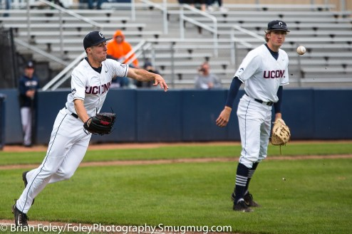 Friday, May 12, 2017; Storrs, CT; Connecticut Huskies pitcher Tim Cate (36) throws a ball to first base on a bunt during the Huskies 2-1 victory over the Bulls.