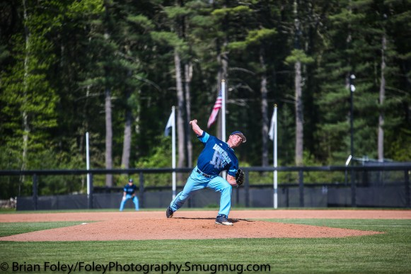 Thursday, May 18, 2017; Smithfield, RI; Rhode Island Rams pitcher Mark Silvestri (19) throws a pitch during the Bulldogs 15-6 victory over the Rams.
