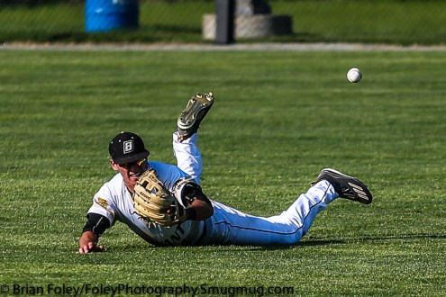 Thursday, May 18, 2017; Smithfield, RI; Bryant Bulldogs outfielder James Ciliento (4) attempts to make a diving catch during the Bulldogs 15-6 victory over the Rams.