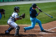Thursday, May 18, 2017; Smithfield, RI; Rhode Island Rams outfielder Mike Foley (6) tries to hold up his swing during the Bulldogs 15-6 victory over the Rams.