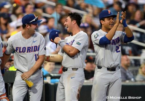 Florida defeated TCU 3-0 at the College World Series on Saturday, June 24, 2017. (Photo by Michelle Bishop)