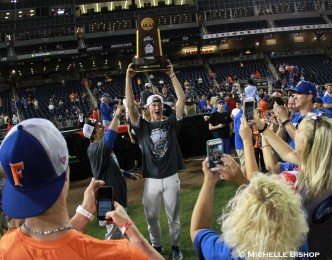 Florida celebrates after winning their first College World Series championship. Florida defeated LSU 6-1 at the College World Series on Tuesday, June 27, 2017. (Photo by Michelle Bishop)