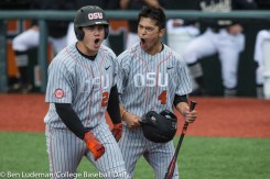 Corvallis, OR - JUNE 10: Steven Kwan (4) of the Oregon State Beavers and KJ Harrison (24) of the Oregon State Beavers celebrate a home run during a 9-2 Oregon State Beavers victory over the Vanderbilt Commodores in an NCAA Championship Super Regional Playoff game on June 10, 2017 at Goss Stadium on the campus of Oregon State University in Corvallis, OR (Photo by Ben Ludeman)