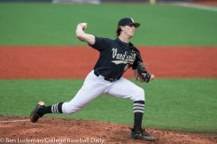 Corvallis, OR - JUNE 10: Kyle Wright (44) of the Vanderbilt Commodores during a 9-2 Oregon State Beavers victory over the Vanderbilt Commodores in an NCAA Championship Super Regional Playoff game on June 10, 2017 at Goss Stadium on the campus of Oregon State University in Corvallis, OR (Photo by Ben Ludeman)
