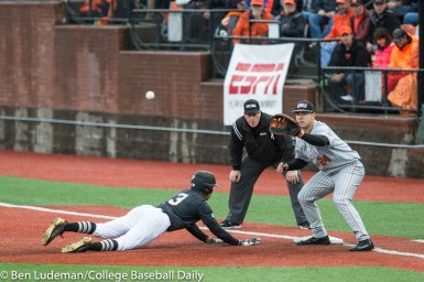 Corvallis, OR - JUNE 10: KJ Harrison (24) of the Oregon State Beavers and Jaren Kendall (3) of the Vanderbilt Commodores during a 9-2 Oregon State Beavers victory over the Vanderbilt Commodores in an NCAA Championship Super Regional Playoff game on June 10, 2017 at Goss Stadium on the campus of Oregon State University in Corvallis, OR (Photo by Ben Ludeman)
