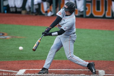 Corvallis, OR - JUNE 10: Adley Rutschman (35) of the Oregon State Beavers during a 9-2 Oregon State Beavers victory over the Vanderbilt Commodores in an NCAA Championship Super Regional Playoff game on June 10, 2017 at Goss Stadium on the campus of Oregon State University in Corvallis, OR (Photo by Ben Ludeman)