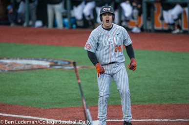 Corvallis, OR - JUNE 10: KJ Harrison (24) of the Oregon State Beavers celebrates being walked while the bases are loaded during a 9-2 Oregon State Beavers victory over the Vanderbilt Commodores in an NCAA Championship Super Regional Playoff game on June 10, 2017 at Goss Stadium on the campus of Oregon State University in Corvallis, OR (Photo by Ben Ludeman)