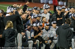 Corvallis, OR - JUNE 10: The Oregon State Beavers celebrate a 9-2 Oregon State Beavers victory over the Vanderbilt Commodores in an NCAA Championship Super Regional Playoff game on June 10, 2017 at Goss Stadium on the campus of Oregon State University in Corvallis, OR (Photo by Ben Ludeman)