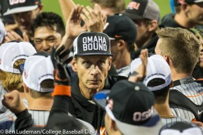 Corvallis, OR - JUNE 10: The Oregon State Beavers Head Coach Pat Casey celebrates a 9-2 Oregon State Beavers victory over the Vanderbilt Commodores in an NCAA Championship Super Regional Playoff game on June 10, 2017 at Goss Stadium on the campus of Oregon State University in Corvallis, OR (Photo by Ben Ludeman)