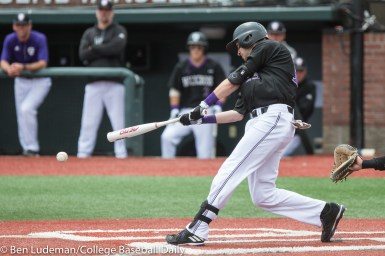 Corvallis, OR - JUNE 4: Cam O'Neill (13) of the Holy Cross Crusaders during a 9-5 Yale Bulldogs victory over the Holy Cross Crusaders in an NCAA Championship Regional Playoff game on June 4, 2017 at Goss Stadium on the campus of Oregon State University in Corvallis, OR (Photo by Ben Ludeman)