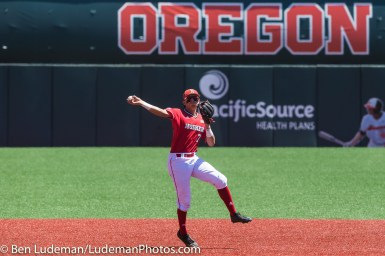 6/2/17, Goss Stadium Corvallis, OR: Nebraska Cornhuskers infielder Angelo Altavilla (7) makes a throw to first base during the Yale Bulldogs 5-1 win over Nebraska in the 2017 NCAA Baseball Tournament.
