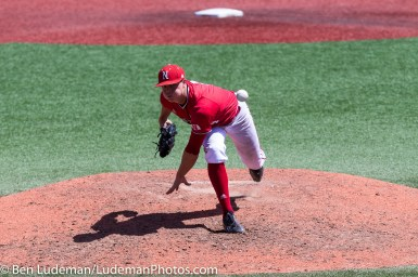 6/2/17, Goss Stadium Corvallis, OR: Nebraska Cornhuskers pitcher Jake Meyers (4) throws a pitch during the Yale Bulldogs 5-1 win over Nebraska in the 2017 NCAA Baseball Tournament.