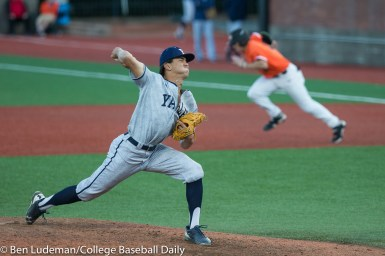 Corvallis, OR - JUNE 4: Tyler Sapsford (16) of the Yale Bulldogs during an 8-1 Oregon State Beavers victory over the Yale Bulldogs in an NCAA Championship Regional Playoff game on June 4, 2017 at Goss Stadium on the campus of Oregon State University in Corvallis, OR (Photo by Ben Ludeman)