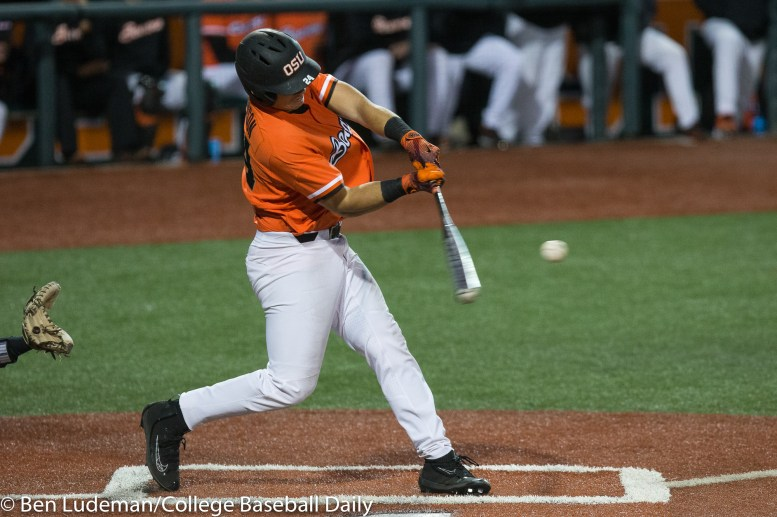Corvallis, OR - JUNE 4: KJ Harrison (24) of the Oregon State Beavers during an 8-1 Oregon State Beavers victory over the Yale Bulldogs in an NCAA Championship Regional Playoff game on June 4, 2017 at Goss Stadium on the campus of Oregon State University in Corvallis, OR (Photo by Ben Ludeman)