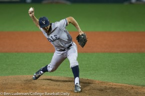 Corvallis, OR - JUNE 4: Griffin Dey (32) of the Yale Bulldogs during an 8-1 Oregon State Beavers victory over the Yale Bulldogs in an NCAA Championship Regional Playoff game on June 4, 2017 at Goss Stadium on the campus of Oregon State University in Corvallis, OR (Photo by Ben Ludeman)